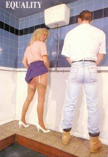 Lady and Man in Toilet