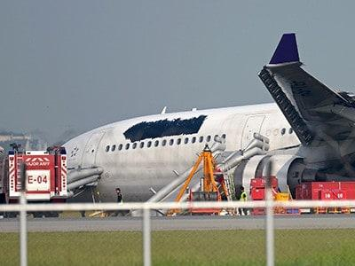 Thai Airways plane skids off runway